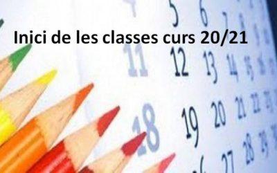 Inici de les classes curs 2020-2021